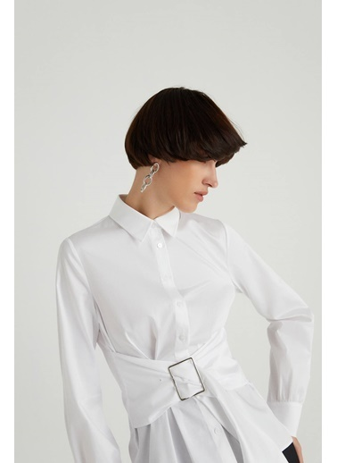 Rue Metal Tokalı Poplin Gömlek Beyaz